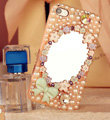 Bling Mirror Bowknot Crystal Cases Pearls Covers for iPhone 5 - Pink