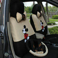 Mickey Mouse Universal Auto Car Seat Cover Set Cartoon 18pcs - Beige Black