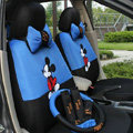Mickey Mouse Universal Auto Car Seat Cover Set Cartoon 18pcs - Blue Black