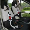 Mickey Mouse Universal Auto Car Seat Cover Set Cartoon 18pcs - Grey Black