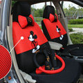 Mickey Mouse Universal Auto Car Seat Cover Set Cartoon 18pcs - Red Black