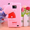 3D Hello kitty Silicone Cases Skin Covers for Samsung i9100 i9108 i9188 Galasy S2 - Pink