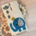 Bling Elephant Crystal Cases Pearls Covers for Sony Ericsson LT26i Xperia S - White