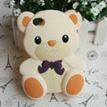 Cartoon 3D Bear Panda Silicone Cases Skin Covers for iPhone 4G/4S - Beige