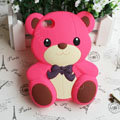 Cartoon 3D Bear Panda Silicone Cases Skin Covers for iPhone 4G/4S - Rose