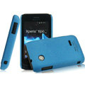 IMAK Cowboy Shell Quicksand Hard Cases Covers for Sony Ericsson ST21i Xperia Tipo - Blue (High transparent screen protector)