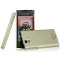 IMAK Titanium Color Covers Hard Cases for Sony Ericsson ST18i Xperia ray - Gold (High transparent screen protector)