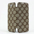 GUCCI Battery back Cover Siamese holster leather cases for Samsung N7100 GALAXY Note2 - Coffee