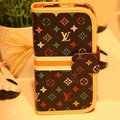 LOUIS VUITTON LV Holster cover leather cases Skin for Samsung Galaxy SIII S3 I9300 I9308 I939 I535 - Black