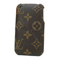 LOUIS VUITTON LV leather Cases Hard Back Covers Skin for iPhone 3G/3GS - Brown