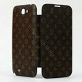 LV LOUIS VUITTON Battery back Cover Siamese holster leather cases for Samsung N7100 GALAXY Note2 - Brown