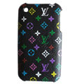 LV LOUIS VUITTON leather Cases Hard Back Covers Skin for iPhone 3G/3GS - Black