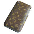 LV LOUIS VUITTON leather Cases Hard Back Covers Skin for iPhone 3G/3GS - Brown