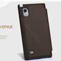 Nillkin England Retro Leather Cases Holster Covers for LG F160L Optimus LTE II 2 - Brown (High transparent screen protector)