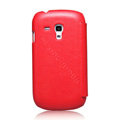 Nillkin leather Cases Holster Covers for Samsung I8190 GALAXY SIII Mini - Red (High transparent screen protector)