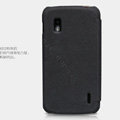 Nillkin leather Cases Holster Covers Skin for LG E960 Nexus 4 - Black (High transparent screen protector)