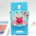 Bear Silicone Cases Mirror Cover Skin for OPPO U705T Ulike2 - Blue