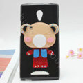 Bear Silicone Cases Mirror Covers Skin for OPPO U705T Ulike2 - Black