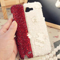 Bling Bear Crystal Cases Pearls Covers Skin for Samsung N7100 GALAXY Note2 - White