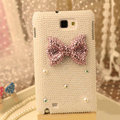 Bling Bowknot Crystal Cases Pearls Covers for Samsung N7100 GALAXY Note2 - White