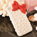 Bling Bowknot Crystal Cases Rhinestone Pearls Covers for iPhone 5 - Red