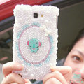 Bling Elephant Crystal Cases Pearls Covers Skin for Samsung N7100 GALAXY Note2 - White