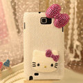 Bling Hello kitty Bow Crystal Cases Pearls Covers for Samsung N7100 GALAXY Note2 - Rose