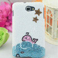 Bling Whale Crystal Cases Pearls Covers for Samsung N7100 GALAXY Note2 - White