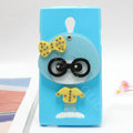 Cute girl Silicone Cases Mirror Cover Skin for OPPO U705T Ulike2 - Blue