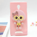 Cute girl Silicone Cases Mirror Cover Skin for OPPO U705T Ulike2 - Pink