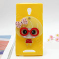 Cute girl Silicone Cases Mirror Cover Skin for OPPO U705T Ulike2 - Yellow
