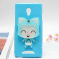 Fox Silicone Cases Mirror Covers Skin for OPPO U705T Ulike2 - Blue