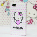 Heart Hello Kitty Side Flip leather Case Holster Cover Skin for iPhone 5 - Pink