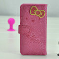 Hello Kitty Side Flip leather Case Holster Cover Skin for iPhone 5 - Rose