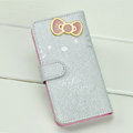 Hello Kitty Side Flip leather Case Holster Cover Skin for iPhone 5 - Silver