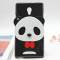 Panda Silicone Cases Mirror Covers Skin for OPPO U705T Ulike2 - Black