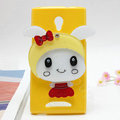 Rabbit Silicone Cases Mirror Cover Skin for OPPO U705T Ulike2 - Yellow