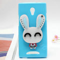 Rabbit Silicone Cases Mirror Covers Skin for OPPO U705T Ulike2 - Blue