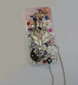 Bling Swarovski crystal cases Flower diamond cover skin for iPhone 5 - White