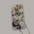 Bling Swarovski crystal cases Flower diamond covers for iPhone 5 - White