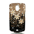 Bling Crystal Case Rhinestone Flower Cover for Samsung i9250 GALAXY Nexus Prime i515 - Gold Black