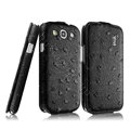 IMAK Ostrich Series leather Case holster Cover for Samsung Galaxy SIII S3 I9300 I9308 I939 I535 - Black