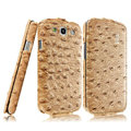 IMAK Ostrich Series leather Case holster Cover for Samsung Galaxy SIII S3 I9300 I9308 I939 I535 - Brown