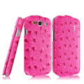 IMAK Ostrich Series leather Case holster Cover for Samsung Galaxy SIII S3 I9300 I9308 I939 I535 - Rose