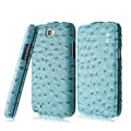 IMAK Ostrich Series leather Case holster Cover for Samsung N7100 GALAXY Note2 - Blue