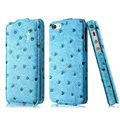 IMAK Ostrich Series leather Case holster Cover for iPhone 5 - Blue