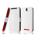 IMAK Slim leather Case holder Holster Cover for HTC T528t One ST - White