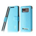 IMAK Slim leather Case holder Holster Cover for HTC T528w One SU - Blue