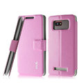 IMAK Slim leather Case holder Holster Cover for HTC T528w One SU - Pink