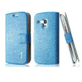 IMAK Slim leather Case holder Holster Cover for Samsung I8190 GALAXY SIII Mini - Blue